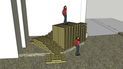 Cross roads new 4 June tower of pallet without rail